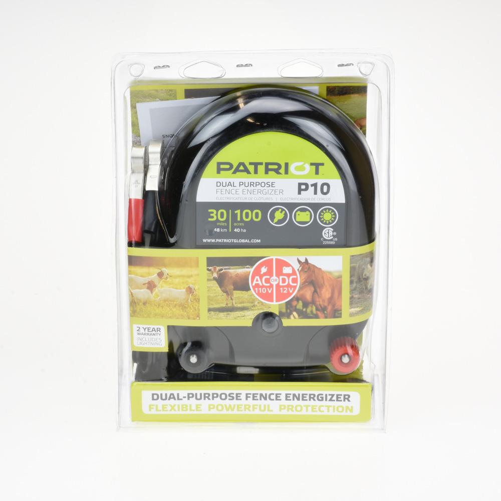 Patriot P10 Dual Purpose Electric Fence Energizer AC or DC 30 Miles 100 Acres for sale online