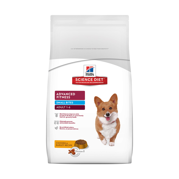 SCIENCE DIET * ADULT - ADVANCED FITNESS SMALL BITES - CHICKEN & BARLEY - 5#  BAG, DRY